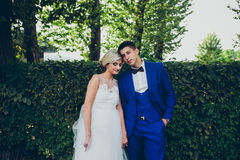 Beautiful wedding couple posing in the park Stock Image