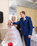 Beautiful wedding couple is pouring champagne indoors. Beauty of bridal interior for marriage. Royalty Free Stock Photos