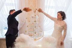 Beautiful wedding couple is pouring champagne indoors. Royalty Free Stock Photo