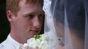 Beautiful wedding couple together. Sequence stock video footage