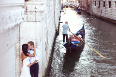 Beautiful wedding couple in Venice Stock Photo