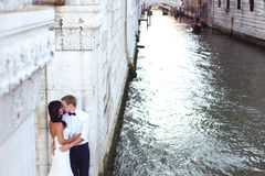 Beautiful wedding couple in Venice Royalty Free Stock Image