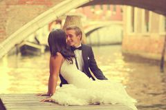 Beautiful wedding couple in Venice Stock Images