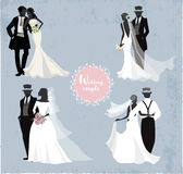 Beautiful wedding couples in silhouette Stock Photos