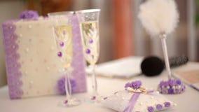 Beautiful wedding decor on the table stock video