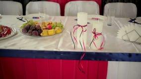 Beautiful wedding decor on the table.  stock footage