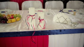 Beautiful wedding decor on the table stock video footage