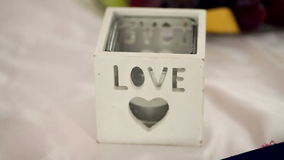 Beautiful wedding decor on the table.  stock video