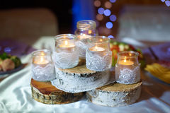 Beautiful wedding decoration on banquet table Royalty Free Stock Images