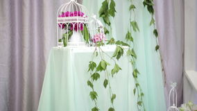 Beautiful wedding decoration in gentle tones stock footage