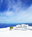Beautiful wedding decoration on Santorini island Royalty Free Stock Image