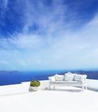 Beautiful wedding decoration on Santorini island Royalty Free Stock Image