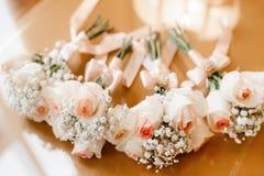 Beautiful wedding decoration set up with flowers. Stock Photo