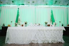Beautiful wedding decoration set up with flowers. Royalty Free Stock Photography