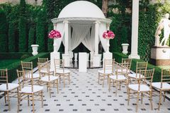 Beautiful wedding decoration set up with flowers. Stock Photos
