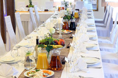 Beautiful wedding decorations on the table Stock Photo