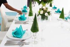 Beautiful wedding or dining table setting. stock photos