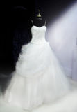 Beautiful Wedding Dress. A beautiful wedding dress on a display stand. Image intentionally softened Stock Images