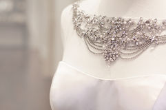 Beautiful wedding dress necklace Stock Photography