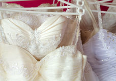 Beautiful wedding dresses in the wedding dress shop Stock Photo