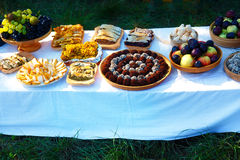 Beautiful wedding feast in nature, abundance of meals on a table. Stock Photography