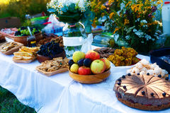 Beautiful wedding feast in nature, abundance of meals on a table. Royalty Free Stock Photos