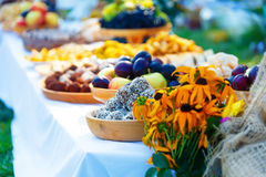 Beautiful wedding feast in nature, abundance of meals on a table. Stock Image