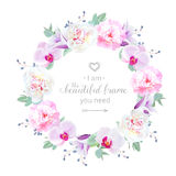 Beautiful wedding floral vector design round frame. Pink and white peony, purple orchid, violet campanula flowers, blue berry. Colorful botany objects. All stock illustration