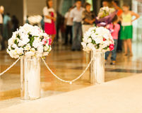 Beautiful wedding flower arrangement of seats Royalty Free Stock Photography