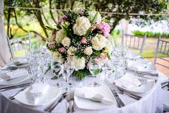 Beautiful Wedding Flower Arrangement Table Setting Series Stock Photo