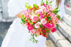 Beautiful wedding flowers, bridal bouquet, two people come together in marriage, a symbol of love. Wedding magic Royalty Free Stock Image