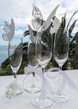 Beautiful wedding glasses. And butterflies Royalty Free Stock Photos