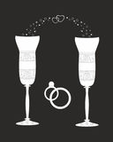 Beautiful wedding glasses with decorative pattern. Royalty Free Stock Photos