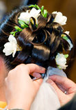Beautiful wedding hairstyle. Bride having her hair done Royalty Free Stock Image