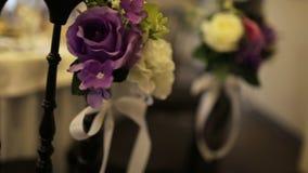 Beautiful wedding hall,. Close up stock video footage