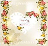 Beautiful wedding invitation card with lace heart and roses Royalty Free Stock Photography