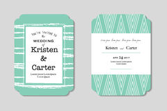 Beautiful wedding invitation. Green greeting card with black printed text Stock Image