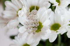 Beautiful wedding jewellery earings detail. Beautiful earings jewellery of the Bride before wedding - romantic detail Royalty Free Stock Photography