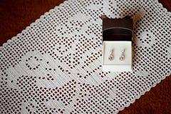 Beautiful wedding jewellery earings detail Stock Images