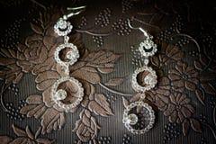 Beautiful wedding jewellery earings detail Royalty Free Stock Photo