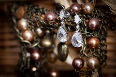 Beautiful wedding jewellery earings detail Royalty Free Stock Images