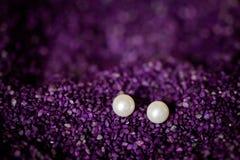Beautiful wedding jewellery earings detail. Beautiful earings jewellery of the Bride before wedding - romantic detail Royalty Free Stock Image