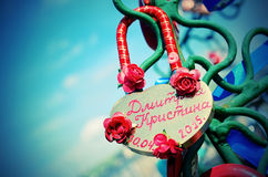 Beautiful wedding locks on the iron tree of love. Royalty Free Stock Images
