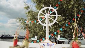 Beautiful wedding registration by the river stock video footage