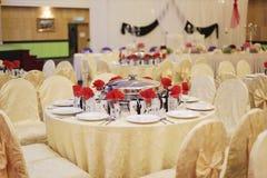 Beautiful wedding restaurant for marriage. White decor for bride Stock Photos