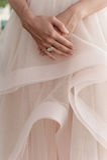 Beautiful wedding ring on bride hand. Closeup Royalty Free Stock Photo