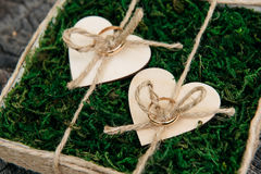 Beautiful wedding rings on wooden background, a stump Royalty Free Stock Image