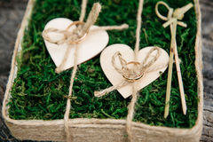Beautiful wedding rings on wooden background, a stump Stock Photography