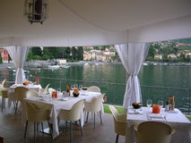 Beautiful Wedding set Como Italy. A beautiful  elegant setting and venue for an elegant  romantic celebration in Italy with a gazebo with an amazing view over Royalty Free Stock Photo