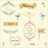 Beautiful wedding set of retro style vector. Stock Photos